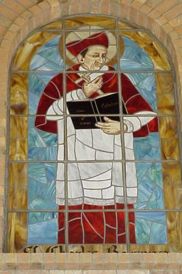 Mosaic of St. Charles Borromeo on the face of the Church